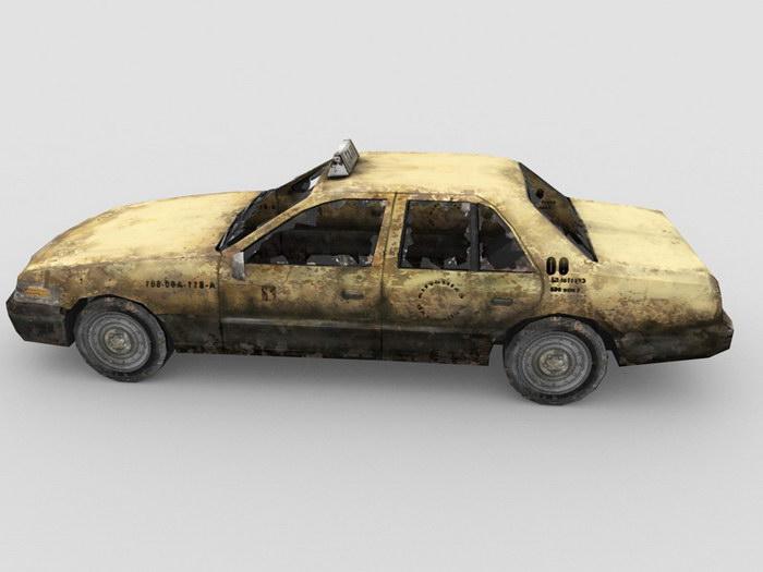 Scrap Car Abandoned Taxicab 3d rendering