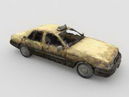 Scrap Car Abandoned Taxicab 3d preview