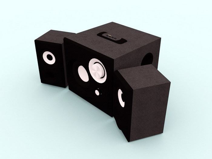 Desktop Speakers 3d rendering
