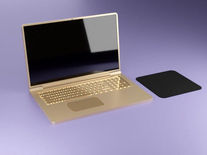 Gold Laptop Computer 3d rendering