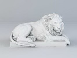 Laying Lion Statue Garden Sculpture 3d preview