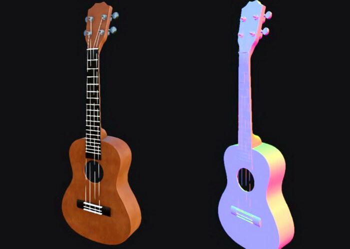 Ukulele Lute Instrument 3d rendering