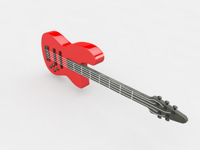 Red Bass Guitar 3d rendering