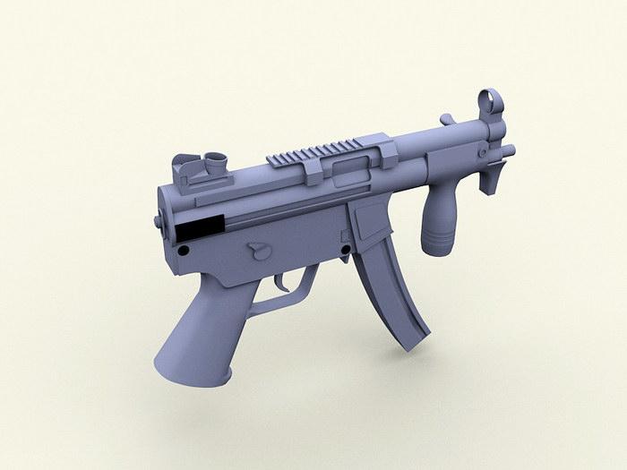 MP5 Auto Submachine Gun 3d rendering