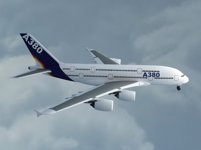 Airbus A380 Passenger Airliner 3d rendering