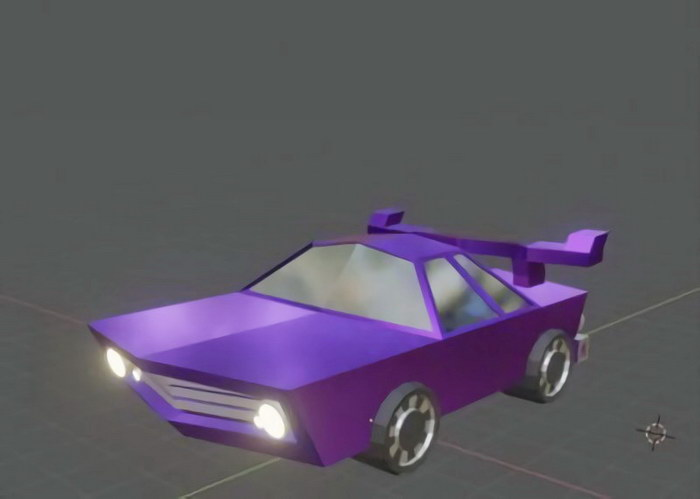 Purple Cartoon Car 3d rendering