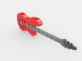 Red Bass Guitar 3d preview
