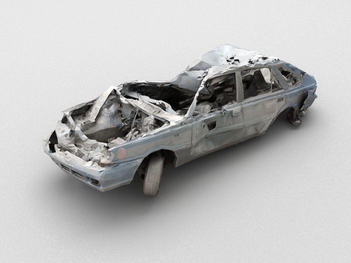 Old Wrecked Car 3d rendering