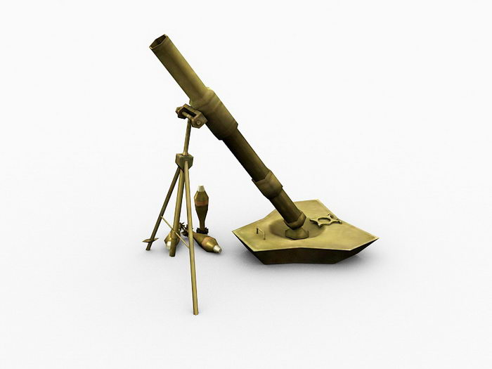 World War 2 Mortar 3d rendering