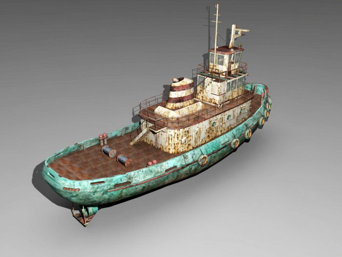 Rusty Tugboat 3d rendering