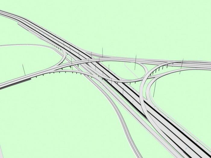 Highway Interchange 3d rendering