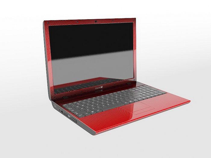 Red Laptop 3d rendering