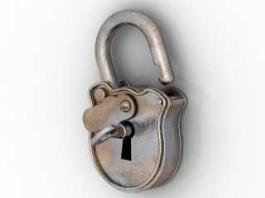 Vintage Padlock and Key 3d preview