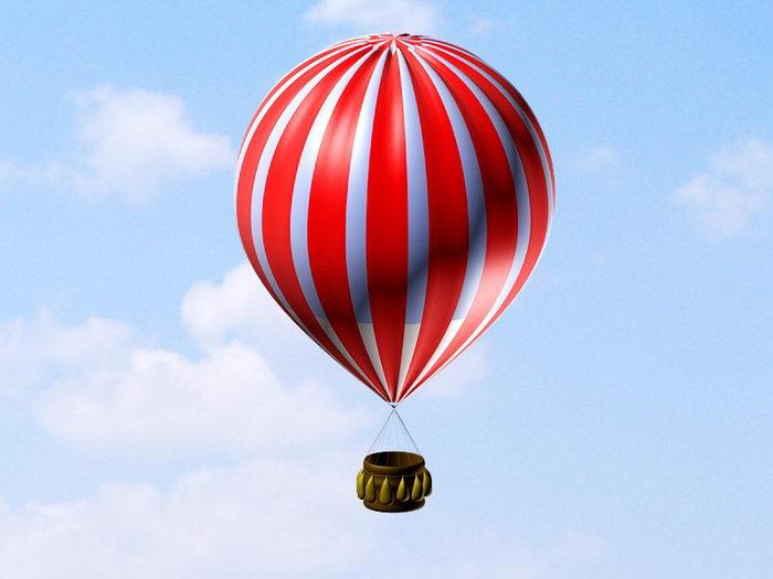 Hot Air Balloon 3d rendering