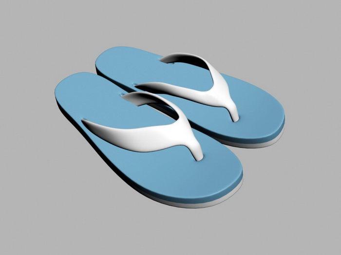 Blue Flip Flops 3d rendering