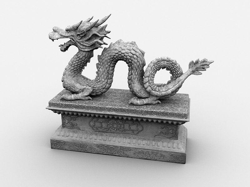 Stone Dragon Sculpture 3d rendering