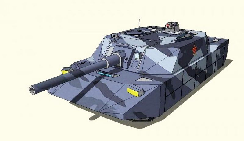 Chinese Stealth Tank 3d rendering