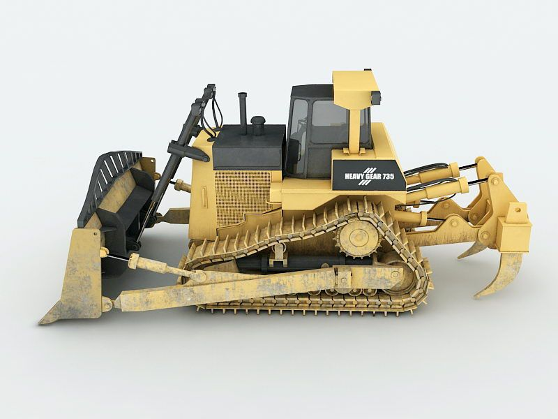 Heavy Tracked Bulldozer 3d rendering