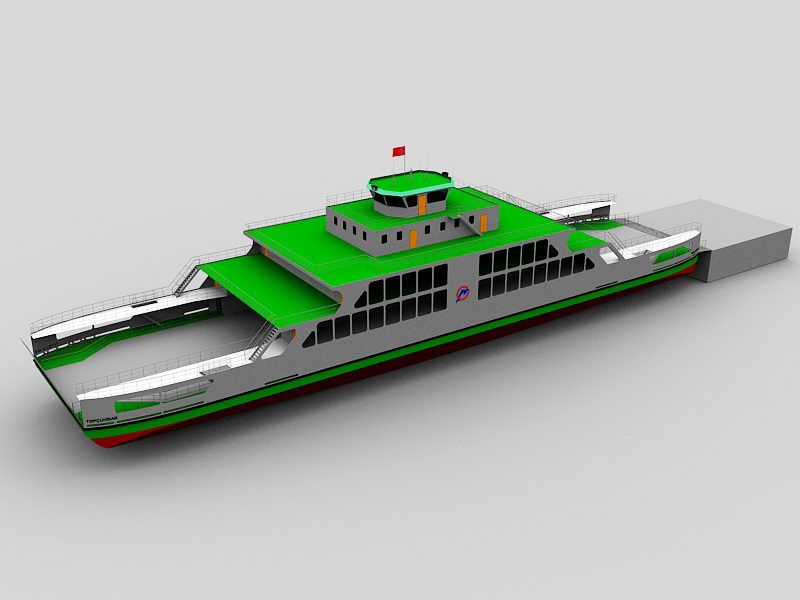 Ferry  Ship 3d rendering