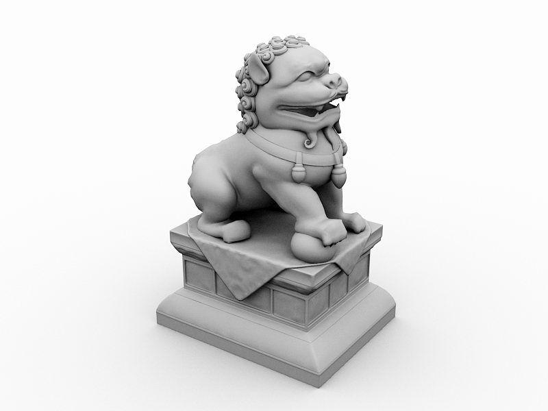 Outdoor Lion Statue 3d rendering