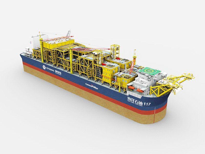 Oil Tanker Ship 3d rendering