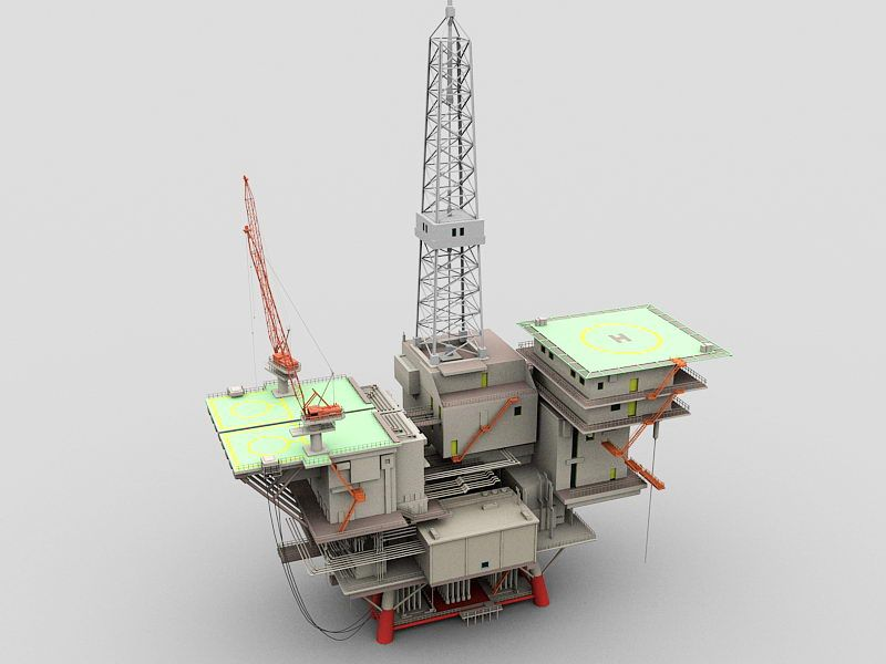 Semi-submersible Platform 3d rendering