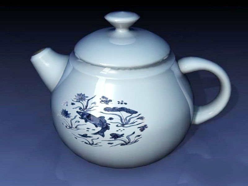 Blue and White Teapot 3d rendering