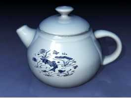 Blue and White Teapot 3d preview