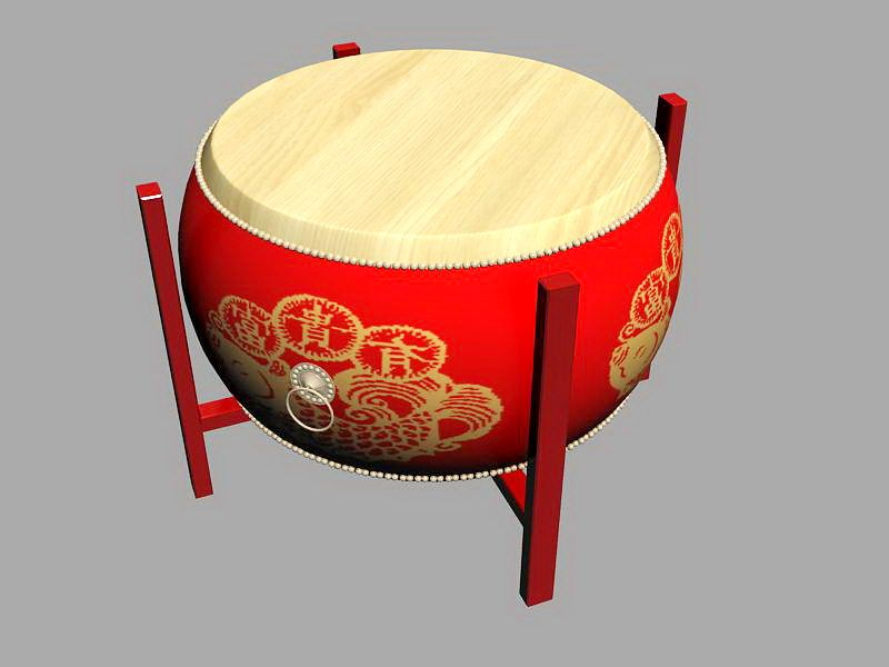Traditional Chinese Drum 3d rendering