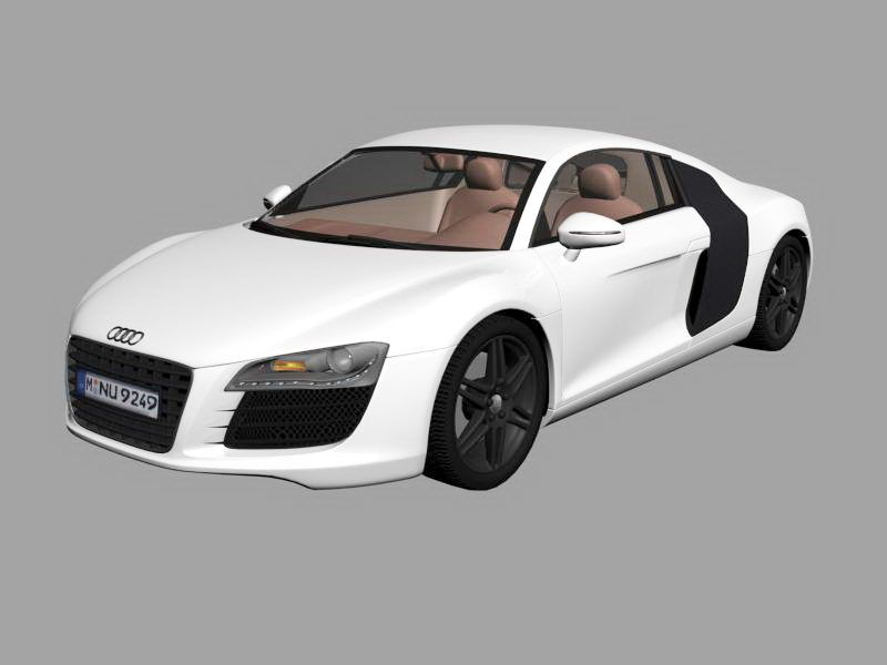 Audi R8 Sports Car White 3d rendering