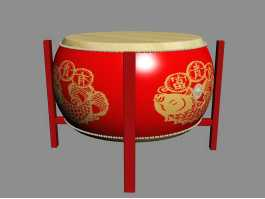 Traditional Chinese Drum 3d preview