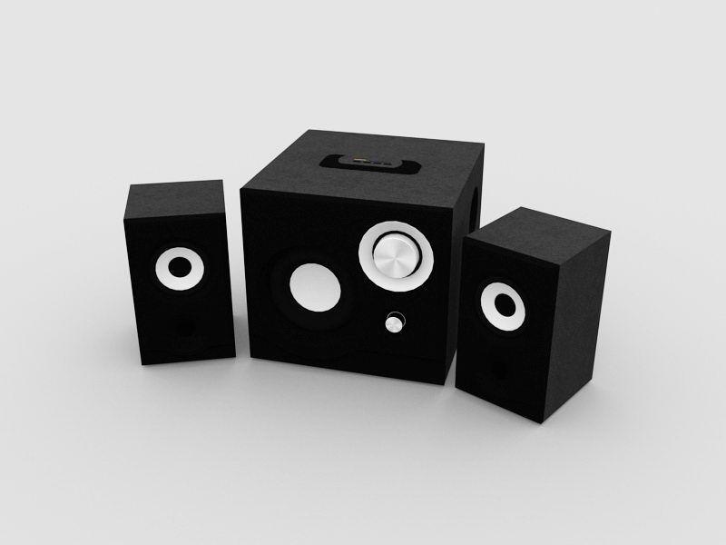 Desktop PC Speakers 3d rendering