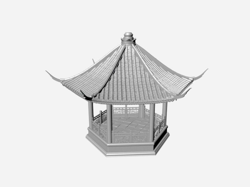 Oriental Pergola 3d rendering