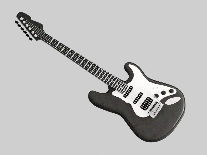 Black Bass Guitar 3d rendering