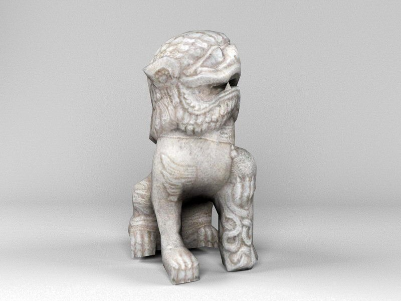 Old Stone Lion 3d rendering