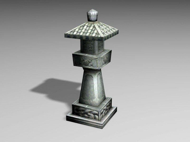 Japanese Style Stone Lantern 3d rendering