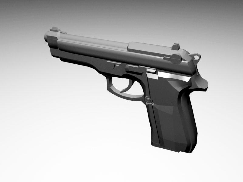 Beretta 9Mm Pistol 3d rendering
