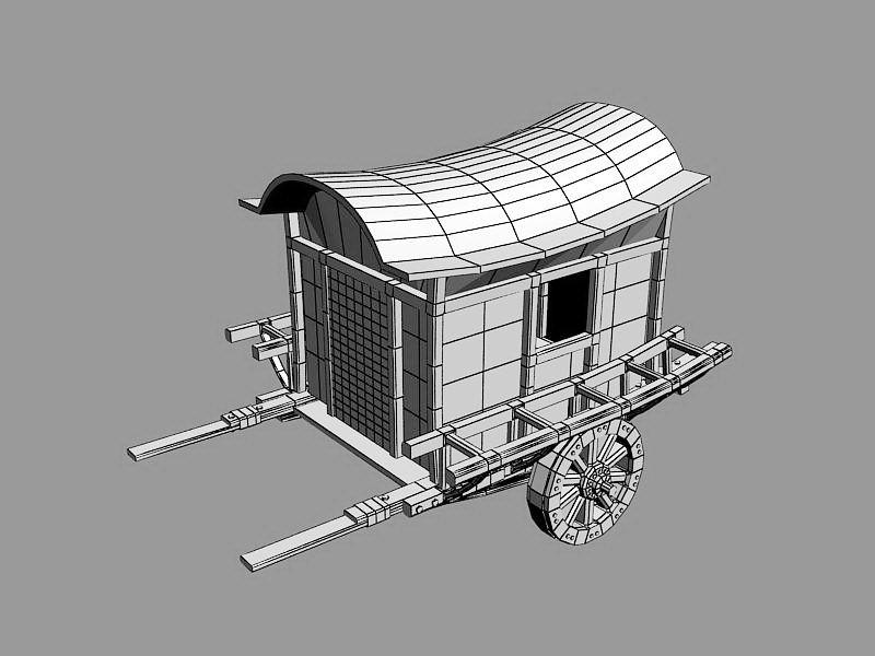 Medieval Carriage 3d rendering