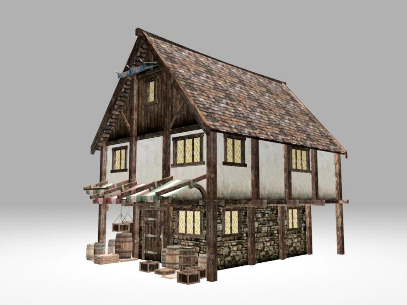 Medieval Village Tavern 3d rendering