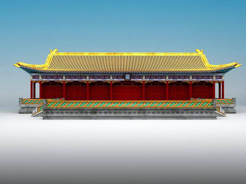 Chinese Palace Architecture 3d rendering