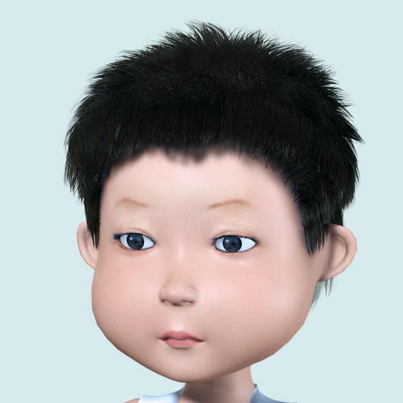 Cute Boy Head 3d rendering