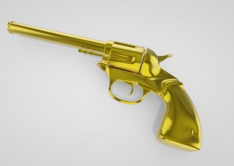 Golden Revolver 3d rendering