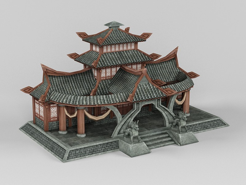 Traditional Chinese Reception Hall 3d rendering