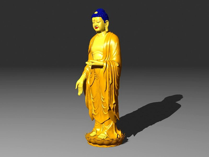 Standing Buddha Statue 3d rendering