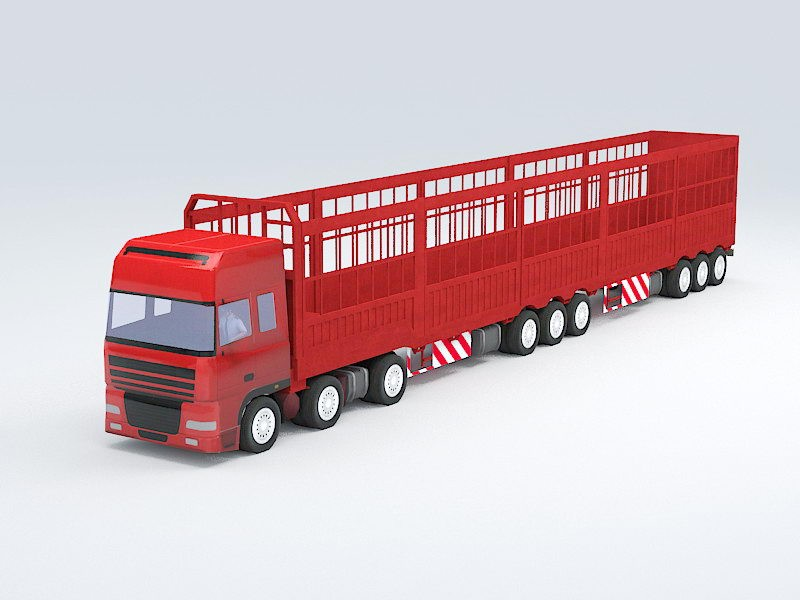 Semi-Trailer Truck 3d rendering