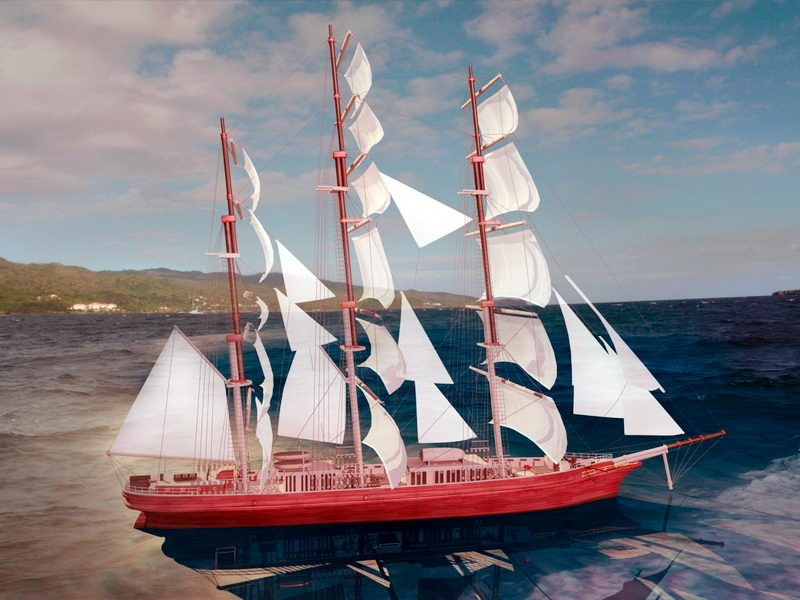 Barque Sailing Ship 3d rendering