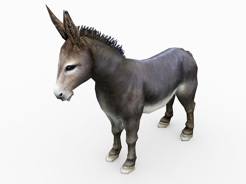 Donkey Low Poly 3d rendering