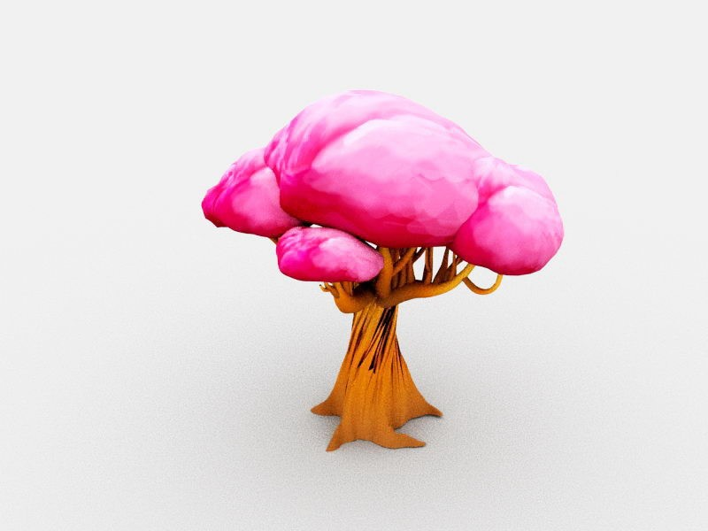 Pink Tree Cartoon 3d rendering