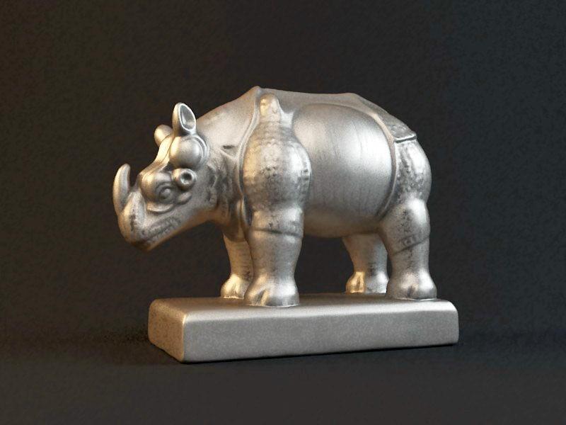 Brass Rhino Statue 3d rendering
