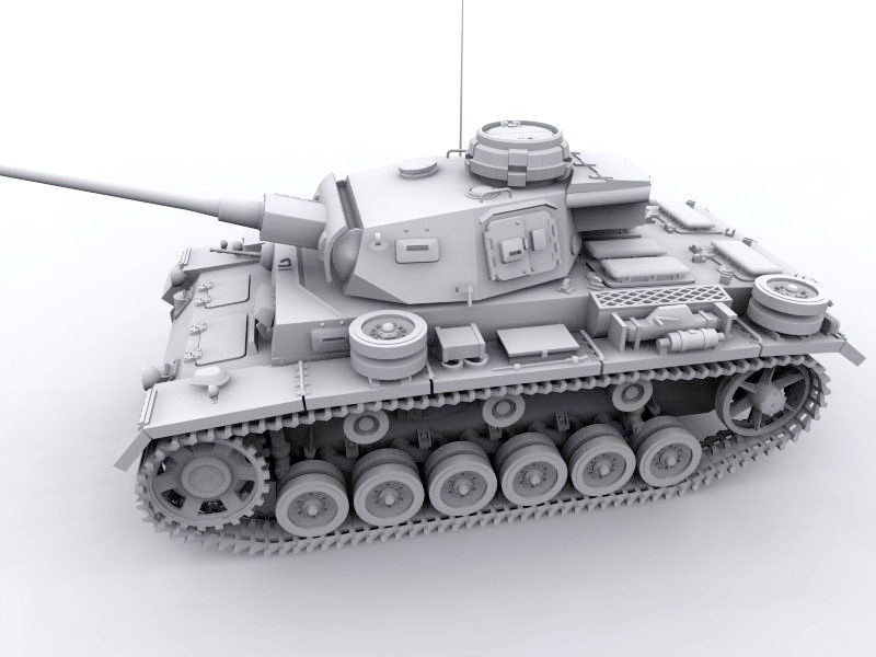 Panzer III Medium Tank 3d rendering